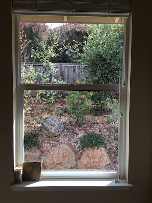 The green and peaceful view out your bedroom window, to our side garden.