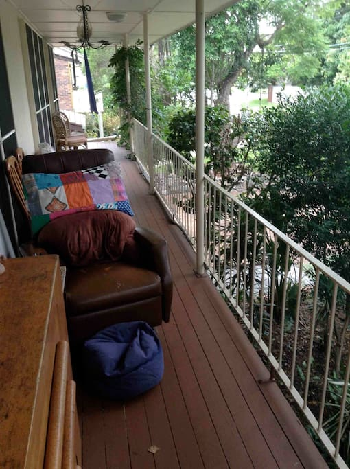Relax in the rocking chair on the deck.