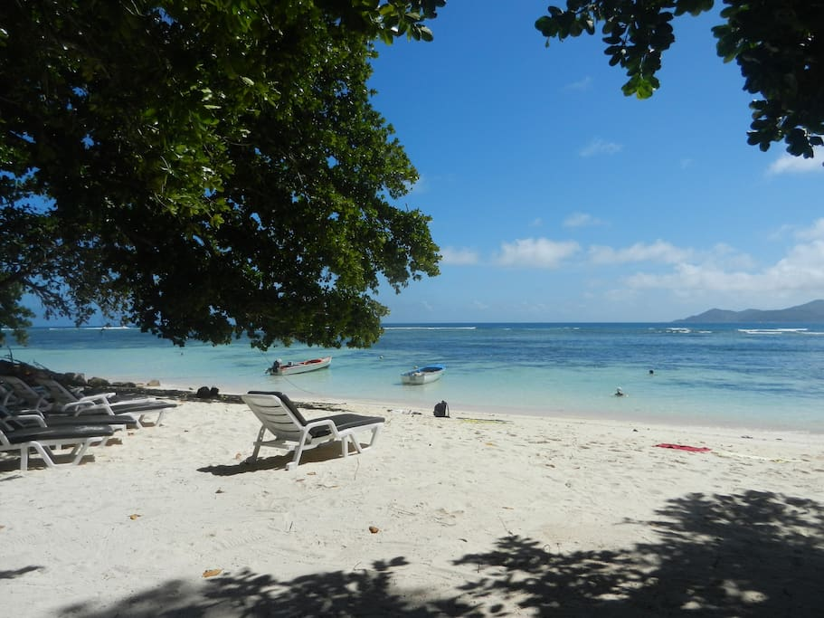 Enjoy the shade and views of Praslin and turquoise waters at the beach just a step away...