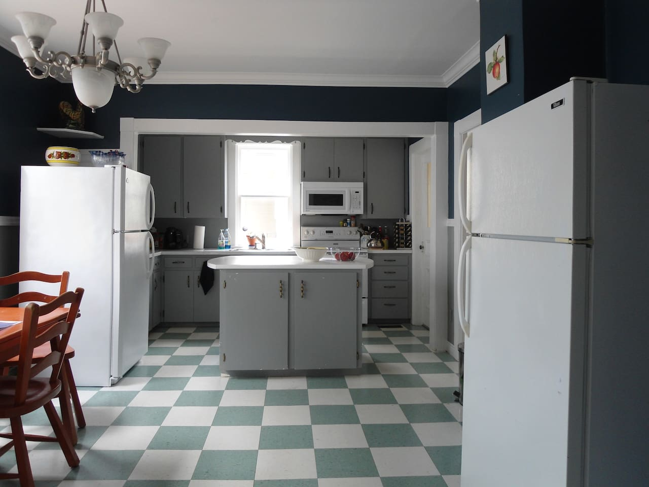 Full kitchen. Microwave,toaster,  stove,  space in separate fridge, dishes and dishwasher, pots and pans.