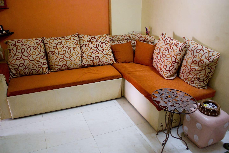 The L shaped sofa sitting!