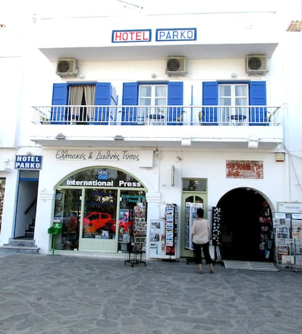 Front of building.  To see videos of the rooms, please try you tube hotel parko channel.