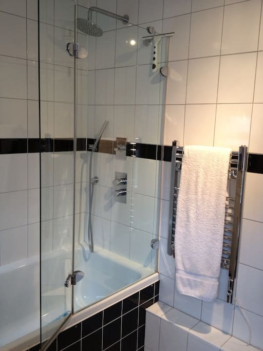 Modern bathroom with rain soaker shower.