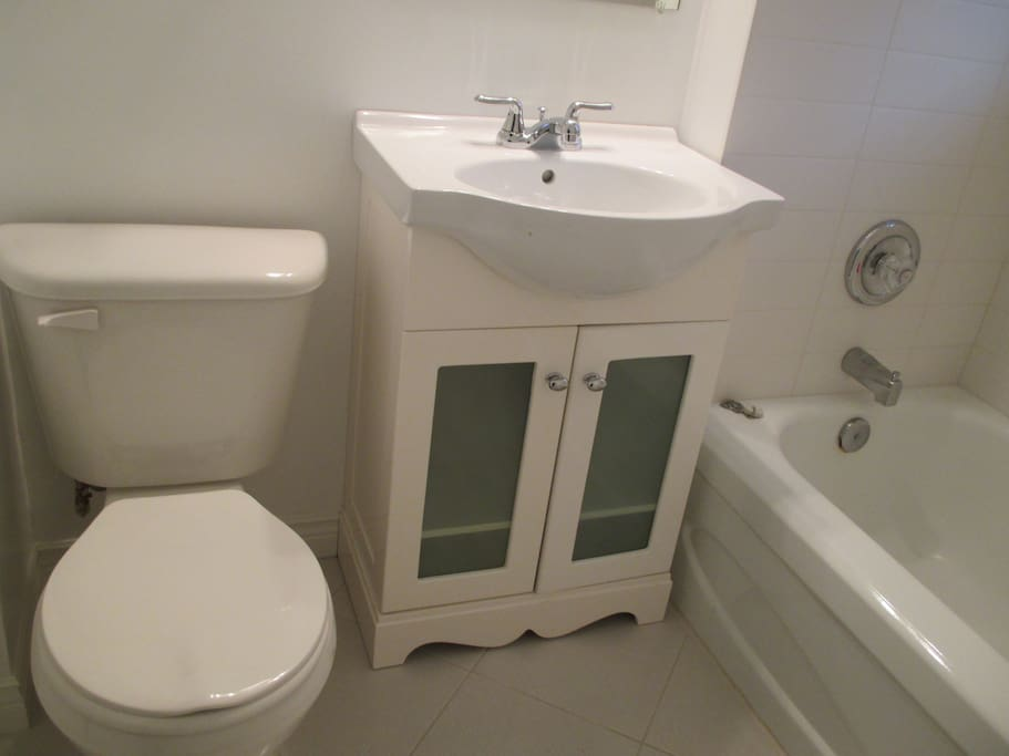 Downstairs bathroom with tub and shower