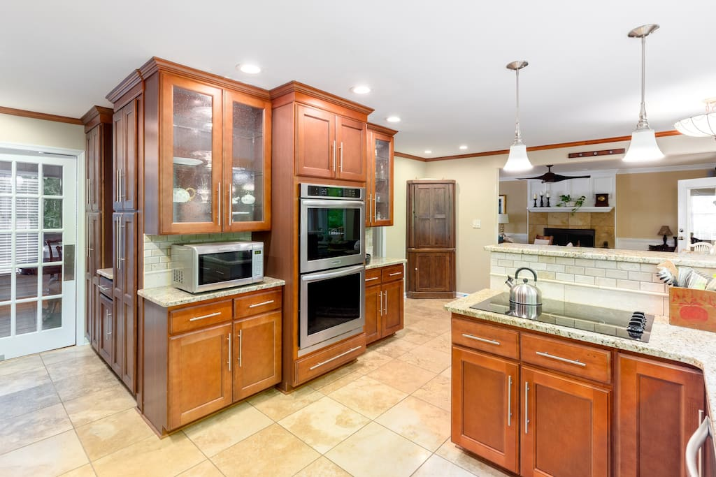 Kitchen.  Glass cooktop.  Double convection oven.