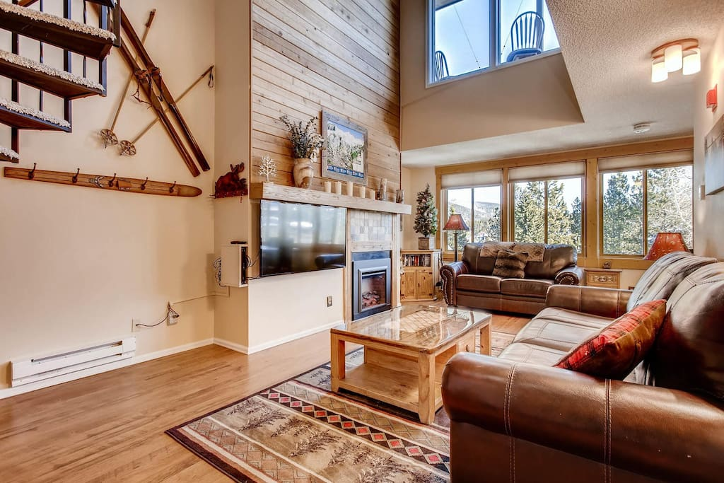 """55"""" TV with fireplace"""