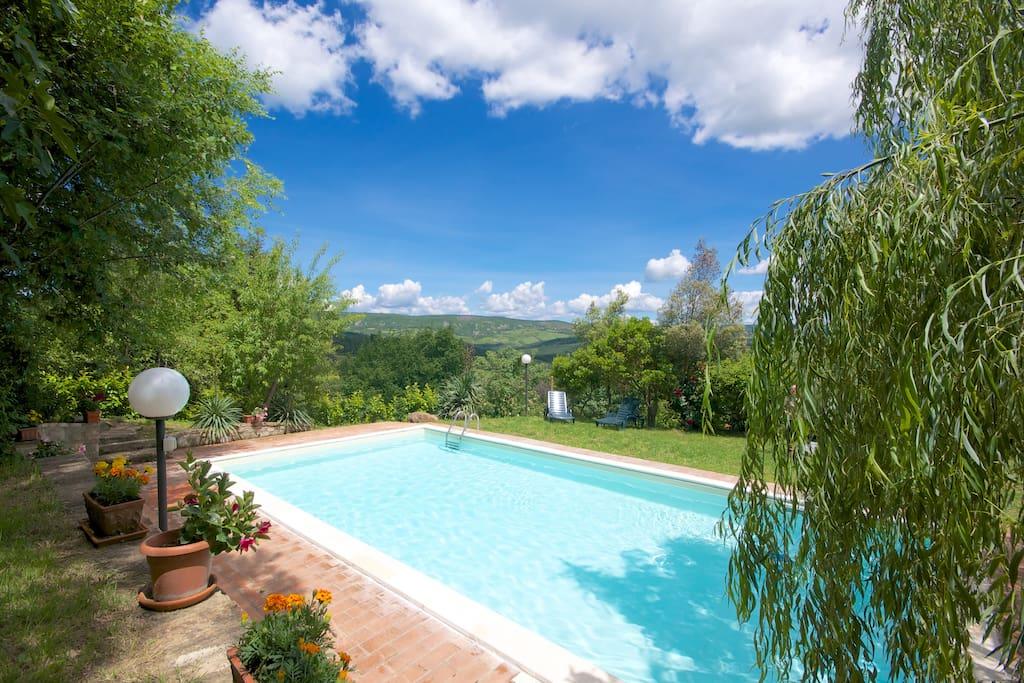 La nostra piscina e il panorama.