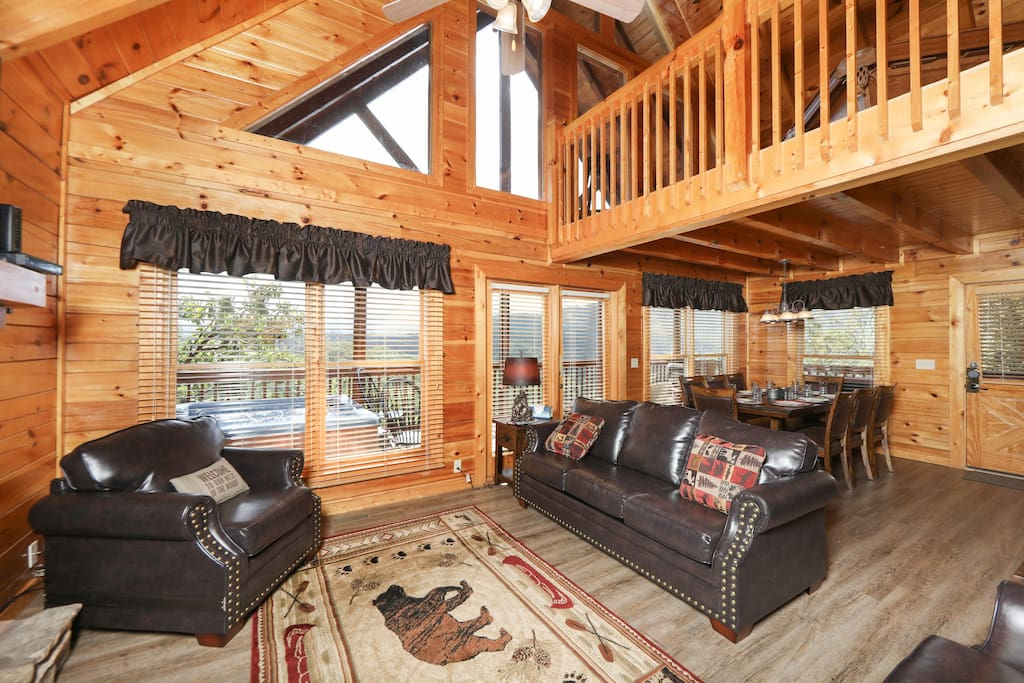 The main-floor living area features stunning mountain views.