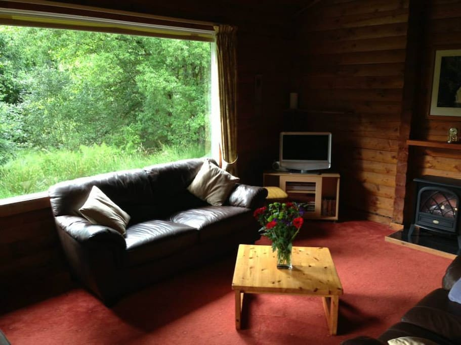 Lounge from kitchen with large window overlooking bird table.