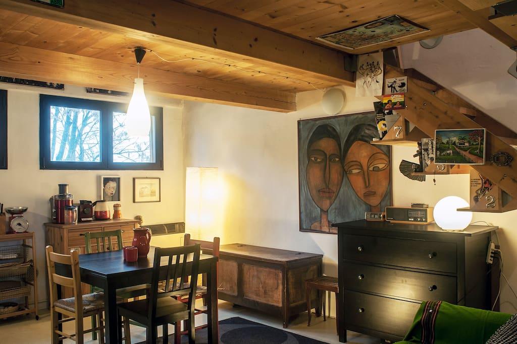 Sala e cucina in spazio unico