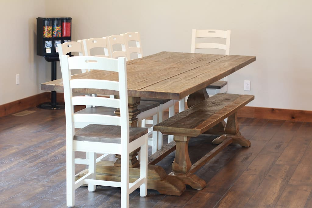 Dining has seating for 10 with folding tables and chairs available.