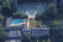 Aerial view, front of the house.