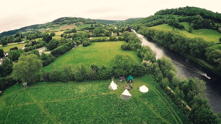 Wye Tipi Camping; Cormorant pitch, Tipi/Bell tent