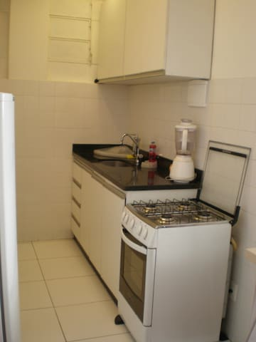 cozinha com fogão, geladeira, micro ondas, armários, máquina de lavar roupa e tanque