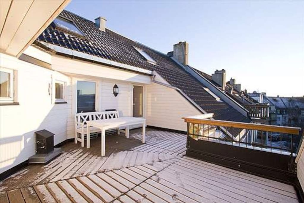 Large and sunny roofterrace; absolutely amazing in the summer and excellent for barbeques.