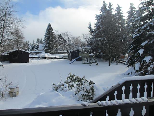 De tuin in winterse dracht