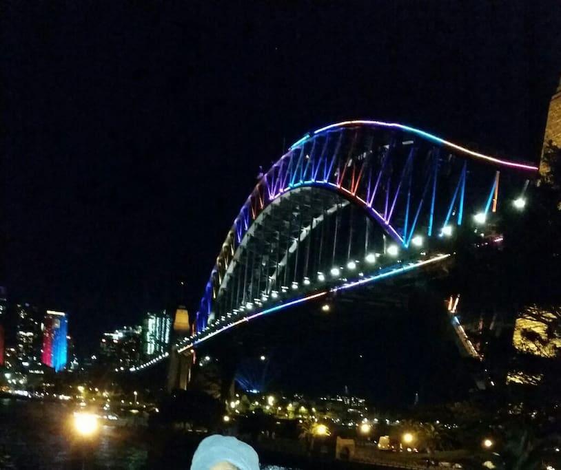 Famous Harbor Bridge during Vivid festival...city glows at night.