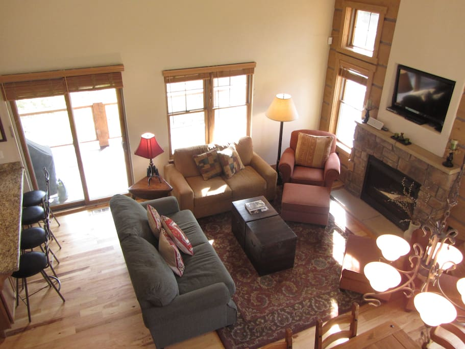 High ceilings makes the room open and bright.
