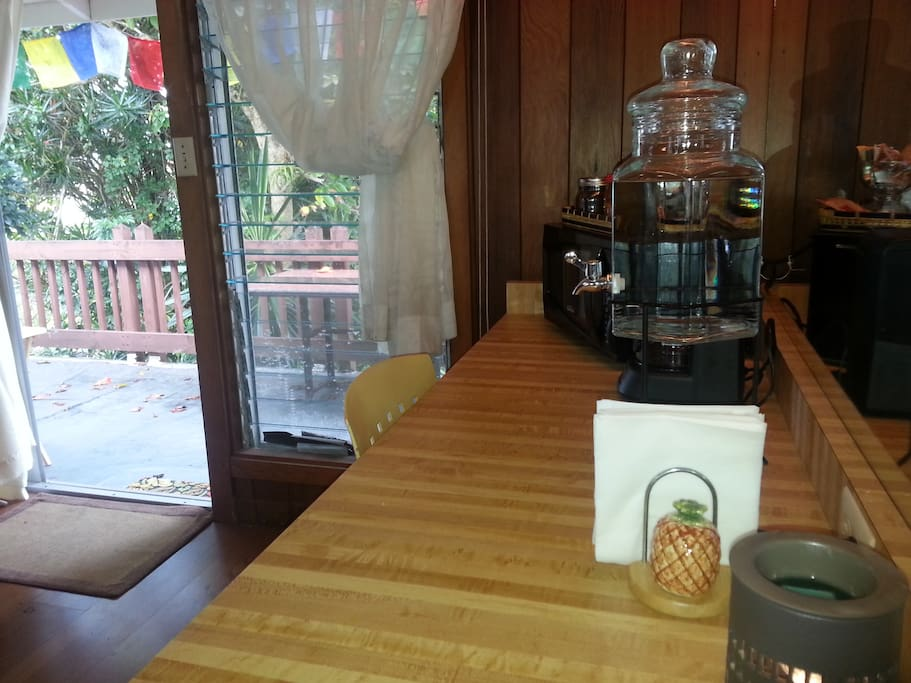 This attached King studio comes with a coffee maker and mini-ref and a water jug.