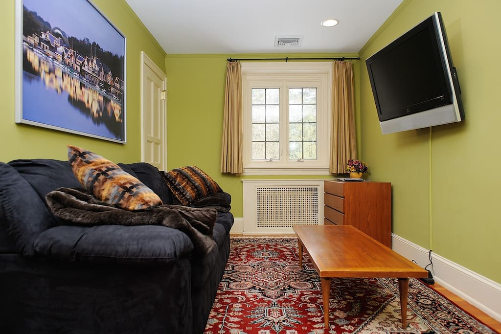 Your private living room has a sofa bed, HDTV, and full Comcast Cable channel lineup -- ESPN, HBO, CNN, and more!