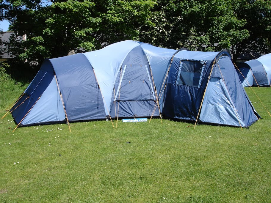 Accommodation is only in high quality Vango Tents. Three types of tent available,  to suit groups sizes of 2;4 or 6. We can accommodate from 1 to up to 350 people at any one time. Great for Rallies; Events etc