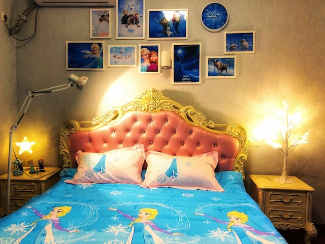 【梦想家·主题民宿】上海迪士尼乐园附近(冰雪奇缘)公主别墅双床套房,带独立卫浴,包接送乐园含早餐