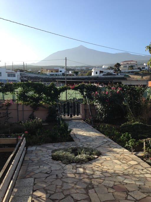 Looking out towards roadside parking space and Mt Teide