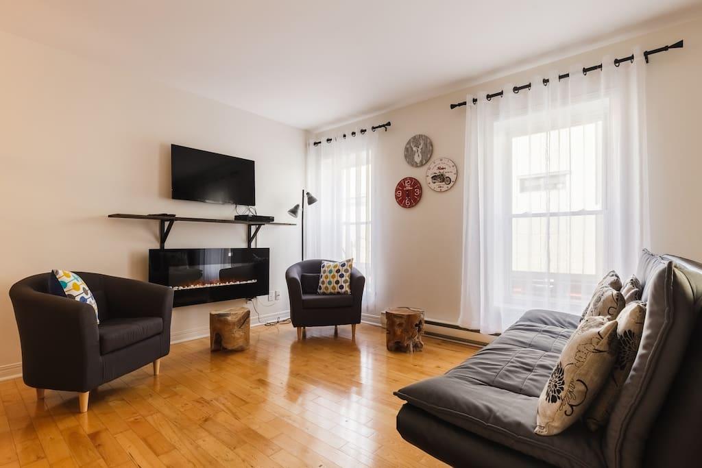 Salon avec foyer