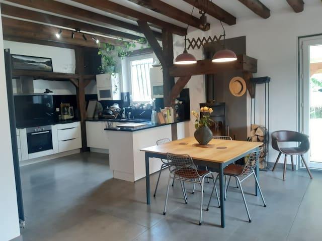 Maison familiale proche Suisse et bord du Rhône