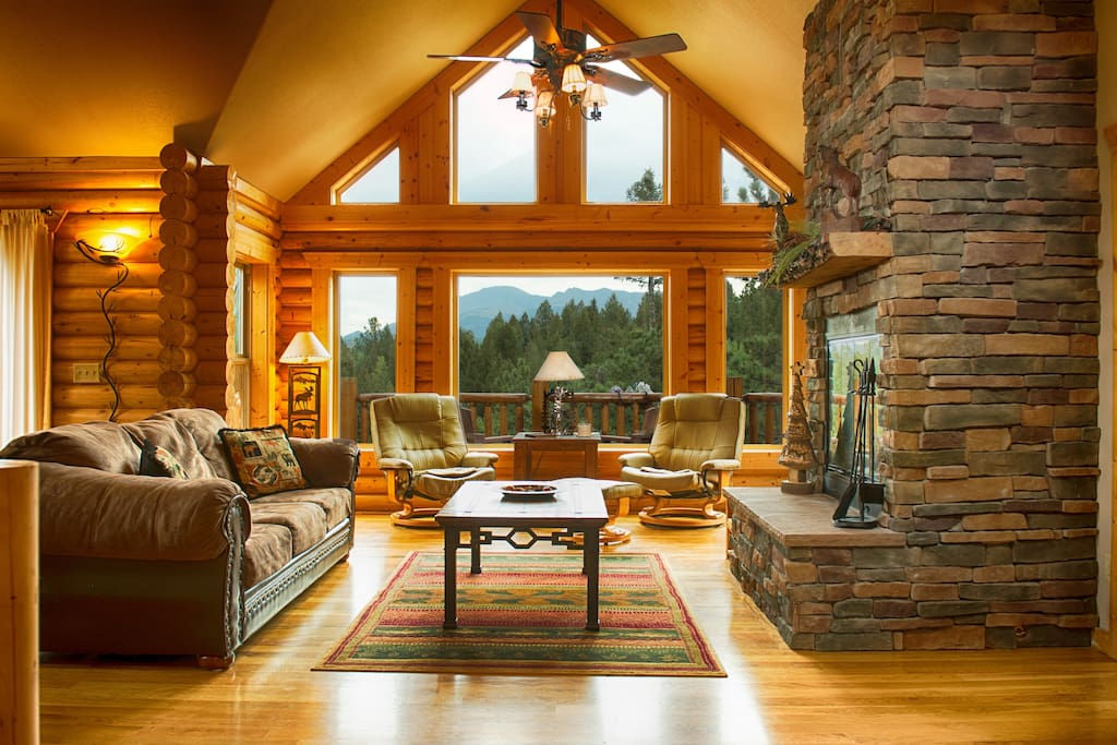 log cabin living room luxury log cabin w pikes peak views for families cabins 12797