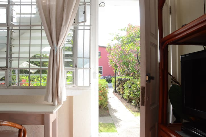Ground floor apartment - entrance through white front door