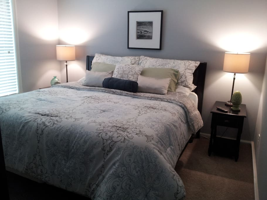 Master bedroom with king size pillow top mattress for your comfort !