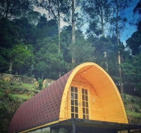 It is a podhouse located opposite to waterfalls..