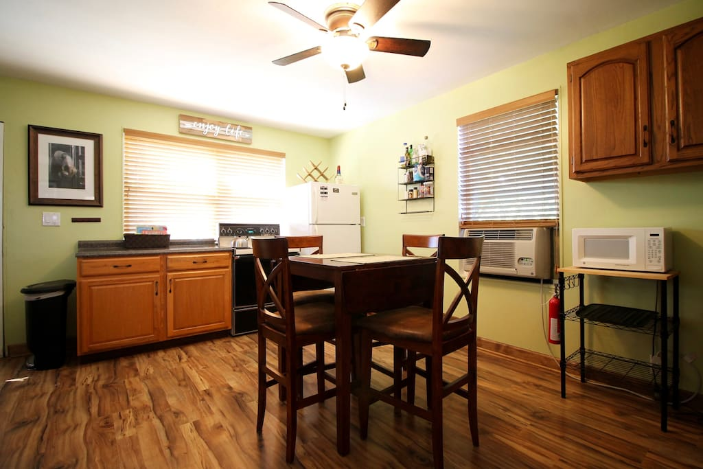 We offer a great kitchen layout for those who want to cook or bring home a meal from a local restaurant.