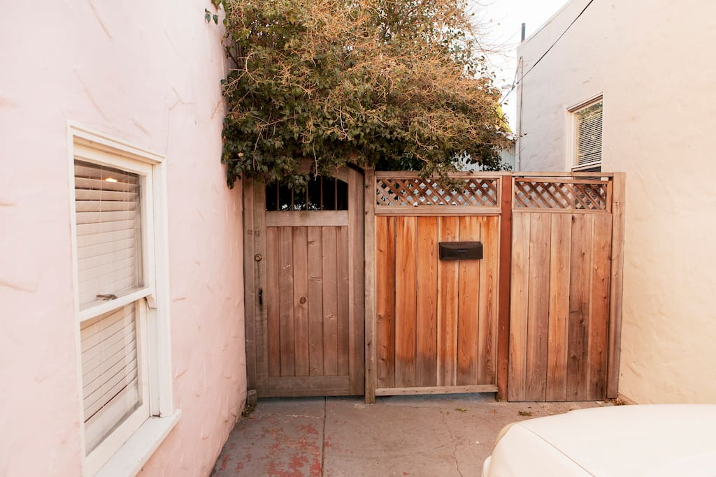 Private gate where you enter backyard.
