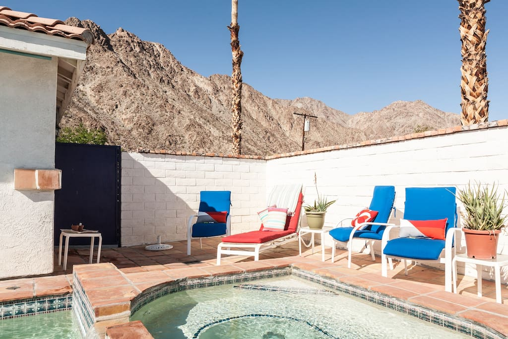 The villa is nestled up against the mountains, walking distance to bike and walking trails