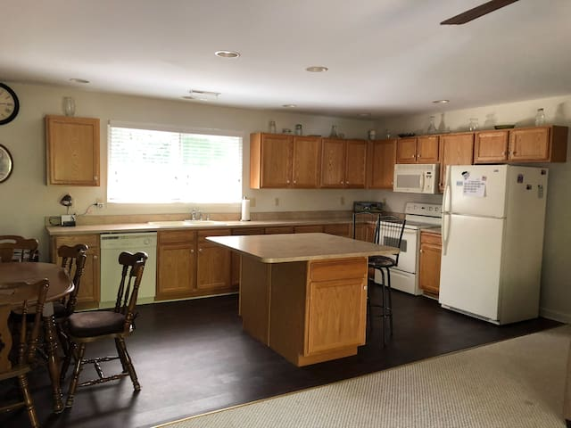 spacious eat in kitchen with island