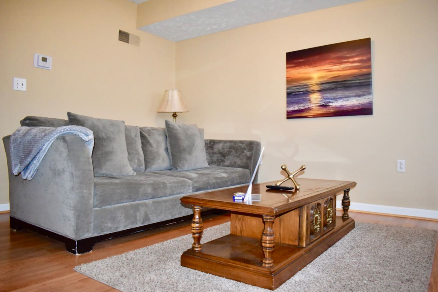 Stretch out and relax in this luxurious living room. Upgraded sofa bed for your comfort!