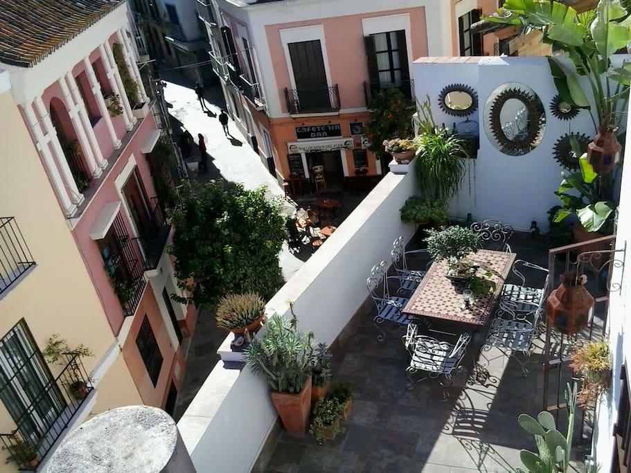 Amplia y soleada terraza con vistas a calle tranquila.