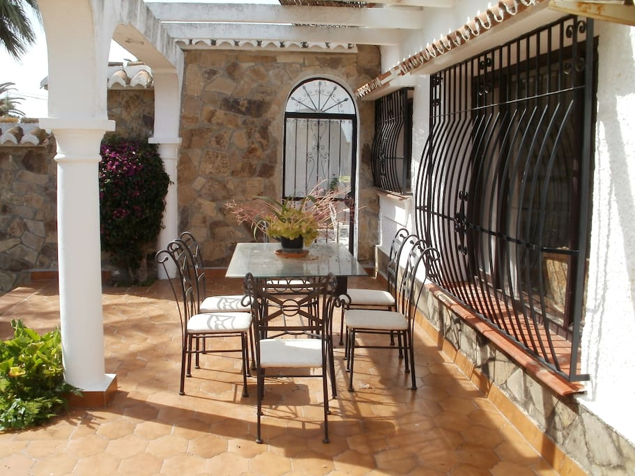 Dining area on patio, perfect for brunches