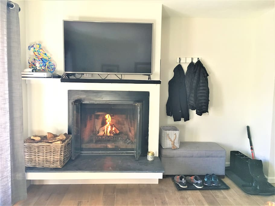 Enjoy the fire while watching a movie or playing XBOX