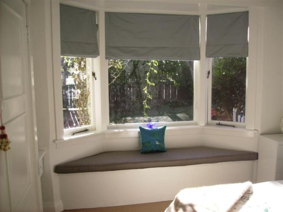 Window seat with view to garden.
