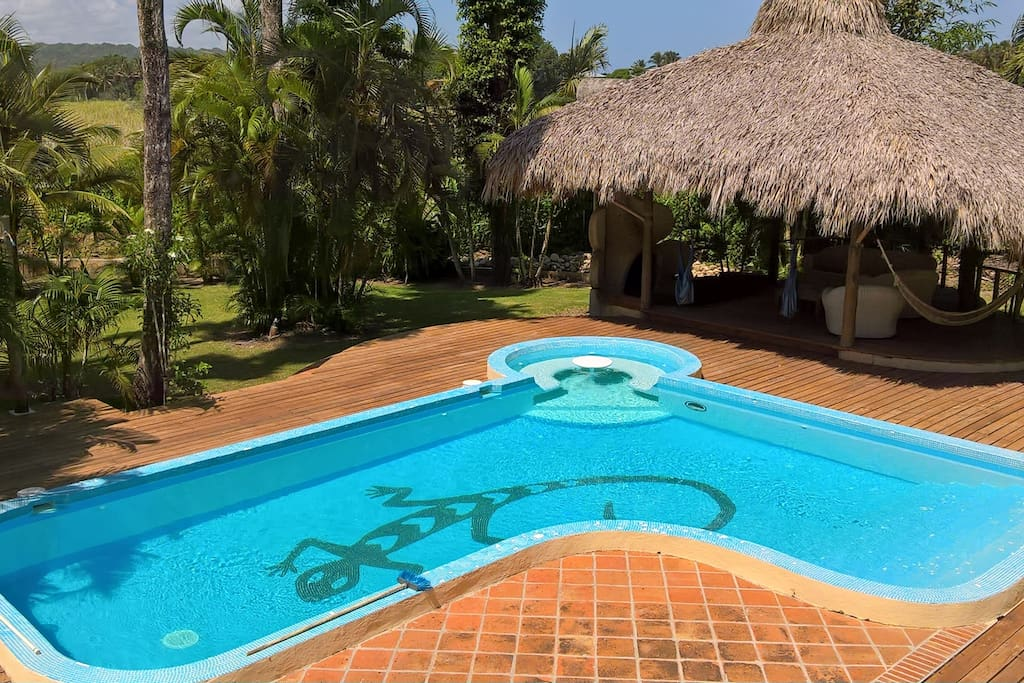 Pool with Gri-Gri bar and patio.