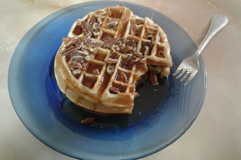 Specialty Waffles topped with pecans made fresh. Breakfast served daily.