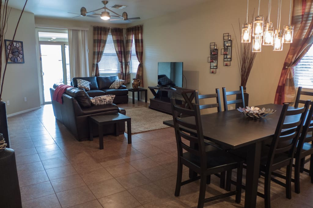 Spacious great room to enjoy a meal or relax and watch a movie in the living room