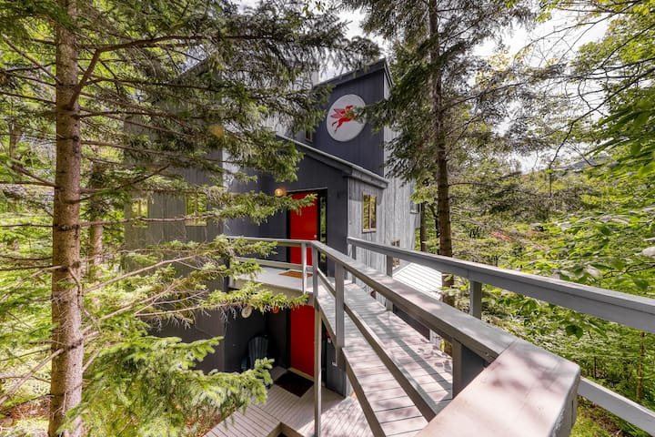 Mountain view home in the treetops w/ forest views, deck & fireplace!