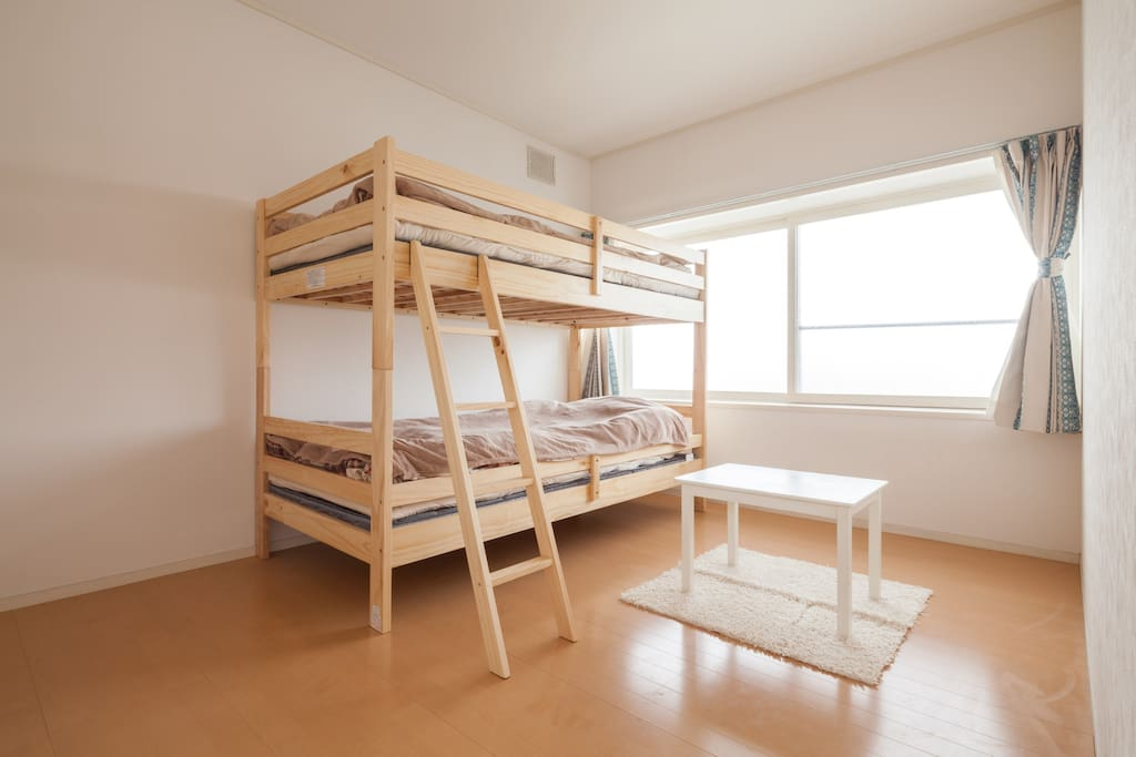 "Your bed room. There is one bunk bed and one Japanese style mattress (""Futon"" in Japanese) :)"