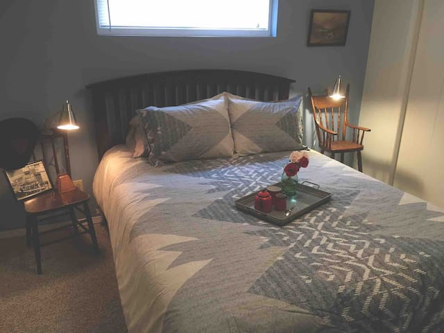 The Prairie Sky room offers a relaxing country feel in a warm inviting atmosphere.