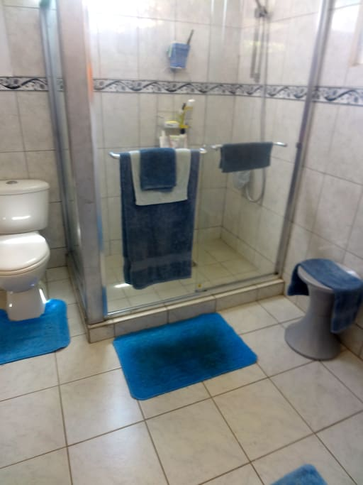 All glass shower stall with sliding door.
