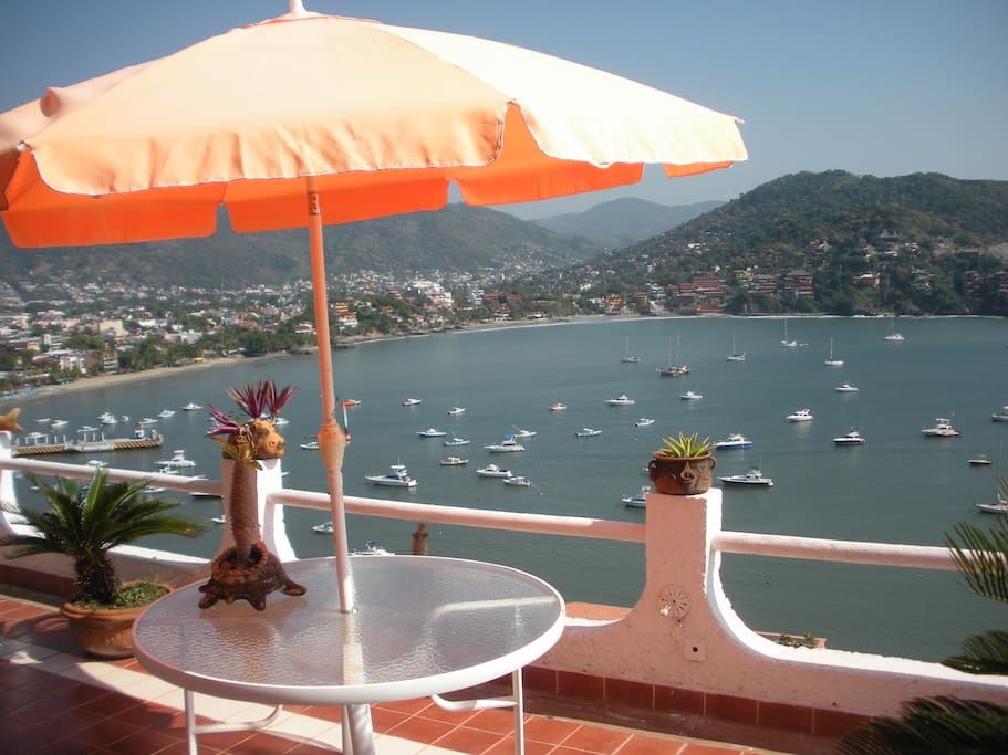 North view from the terrace - Zihuatanejo Bay, Playa Principal, Playa Madera, and Downtown Zihuatanejo